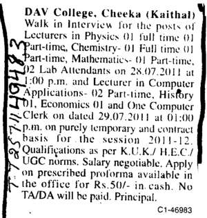 Lecturer in Physics and Chemsitry (DAV College)