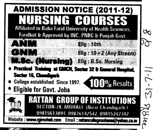 GNM and ANM Courses (Rattan Professional Education Society, College of Nursing)