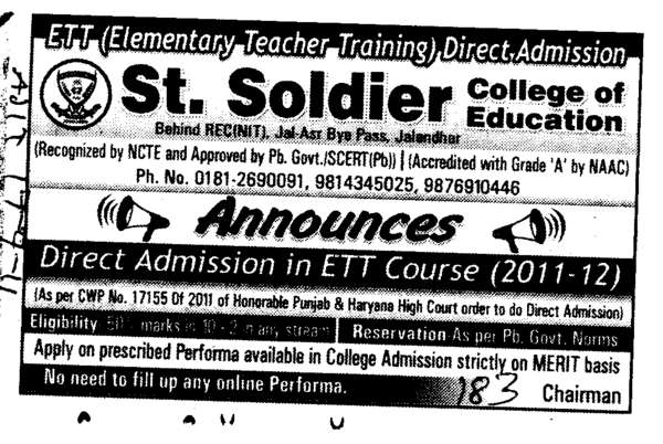 ETT Courses (St Soldier College of Education)
