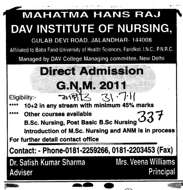 GNM Courses (Mahatma Hans Raj DAV Institute of Nursing)