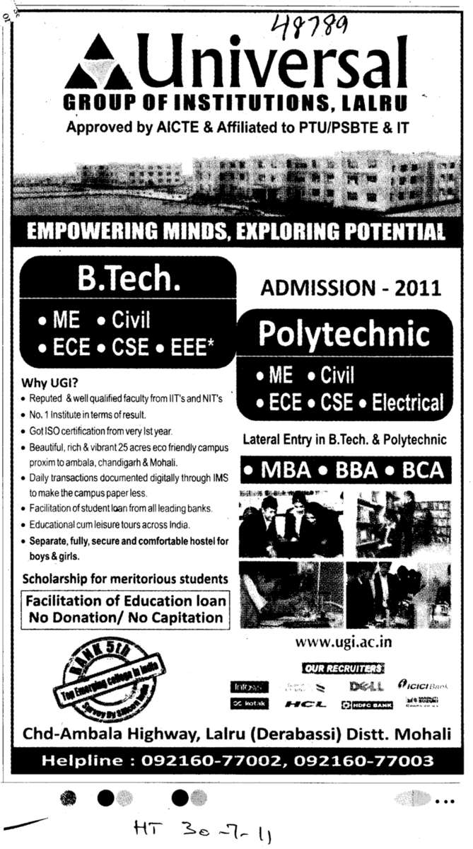B Tech MBA MCA and BBA etc (Universal Group of Institutions)
