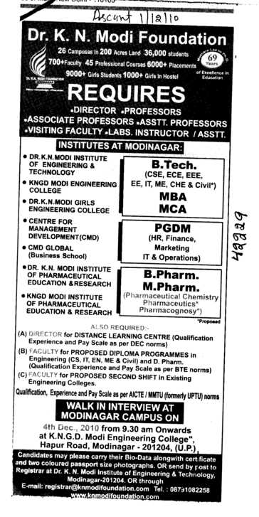 B Tech MCA and MBA etc (KNGD Modinagar Engieering College)