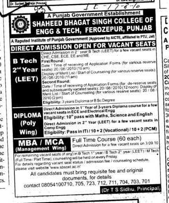 B Tech Diploma and MBA etc (Shaheed Bhagat Singh State (SBBS) Technical Campus)