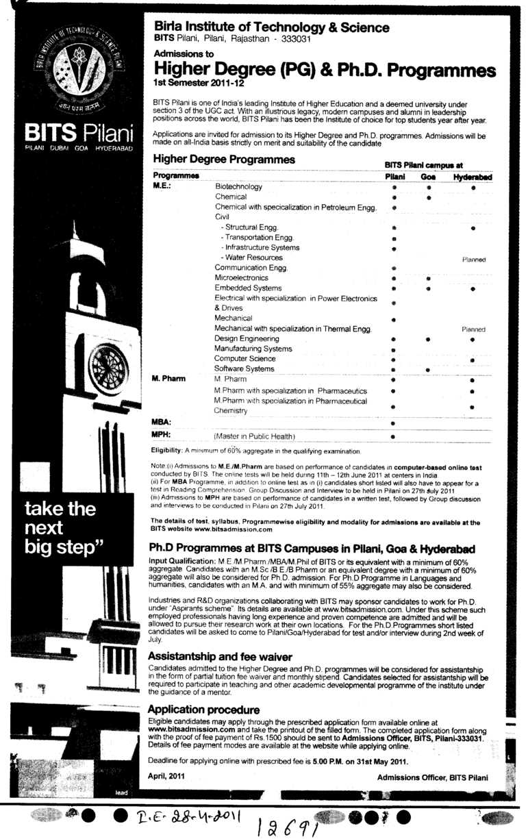 Higher Degree and Ph D Programme (Birla Institute of Technology and Science (BITS))