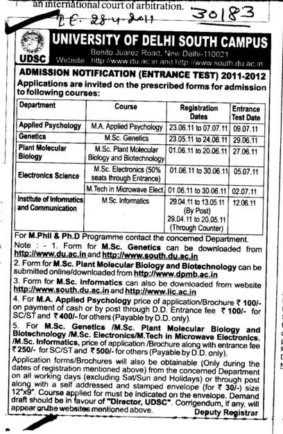 M Phill and Ph D Programme (Delhi University)