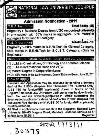 MBA and MS Programme (National Law University (NLU))