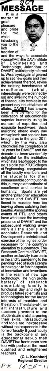 Message of C L Kochher Director (DAV Institute of Engineering and Technology DAVIET)