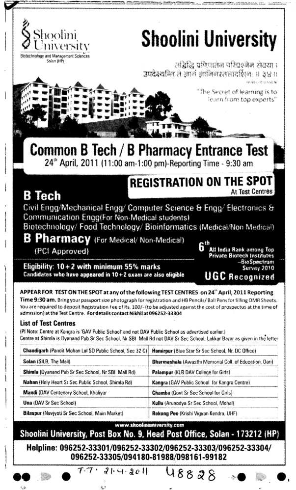 B Tech and B Pharmacy (Shoolini University)