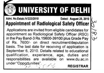 Radiological Safety Officer (Delhi University)