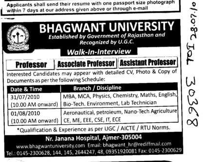 Professors Assistant Professors and Associate Professors etc (Bhagwant University)