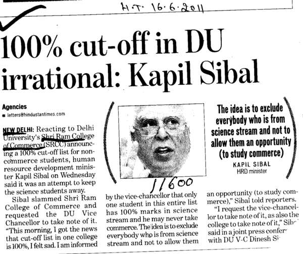 Hundred percent cut off in DU irrational (Shri Ram College of Commerce)