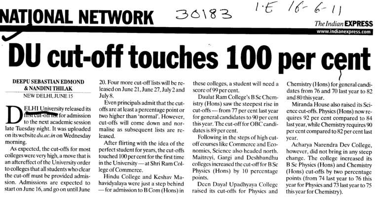 DU cut off touches 100 percent (Delhi University)
