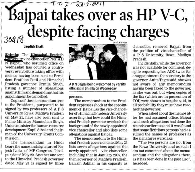 Bajpai takes over as HP VC despite facing charges (Himachal Pradesh University)