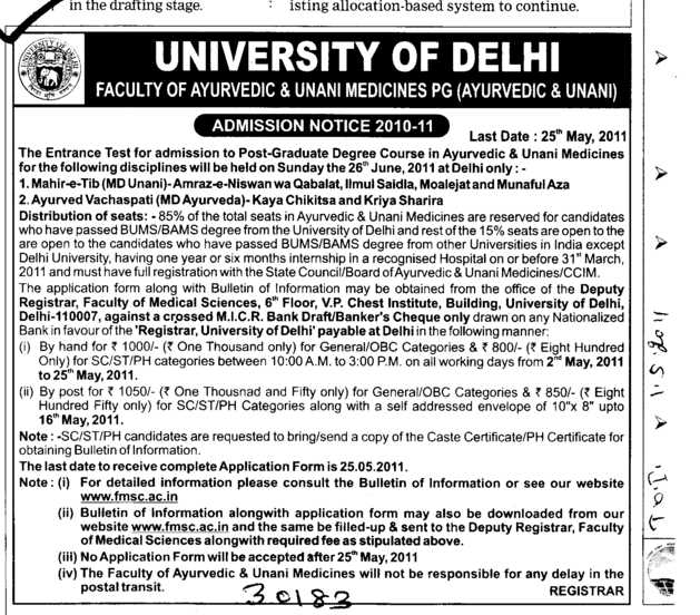 Post Graduate Degree Course (Delhi University)