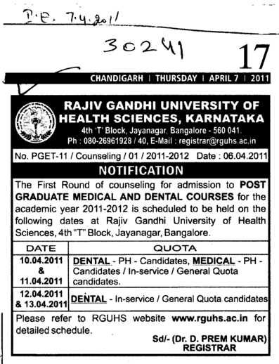 Post Graduate Medical and dental Courses (Chaudhary Devi Lal University CDLU)