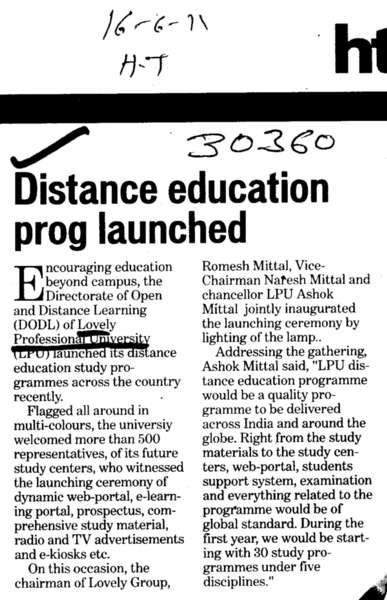Distance Education prog Launched (Lovely Professional University LPU)