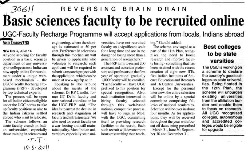 Basic Science faculty to be recruited online (University Grants Commission (UGC))