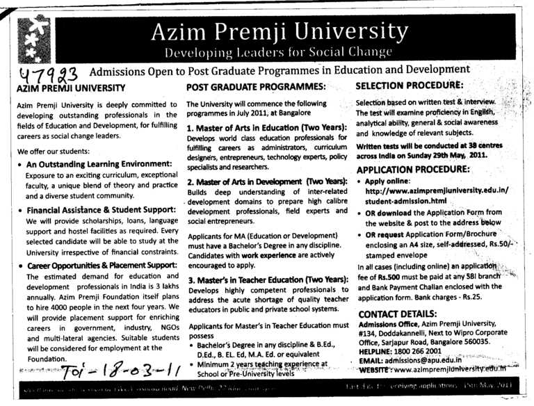 Post Graduate Programme (Azim Premji University)