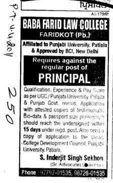 Principal on regular basis (Baba Farid Law College)