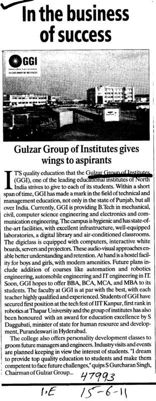 In the Bussiness of Success (Gulzar Group of Instituties Khanna)