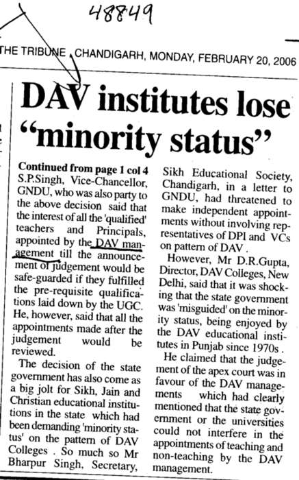 DAV institutes lose minority status (DAV College Managing Committee)