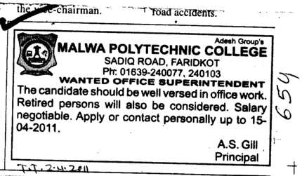 Office Superintendent (Malwa Polytechnic College)