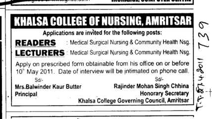Reader and Lecturers (Khalsa College of Nursing)