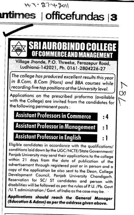 Assistant Professors in Commere and Management (Sri Aurobindo College of Commerce and Management)