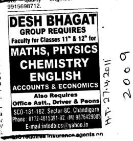 Office Assistant and Driver (Desh Bhagat Group of Institutes)