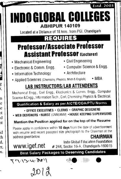 Professors Assisatnt Professors and Associate Professors etc (Indo Global Group of Colleges)
