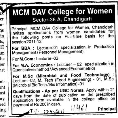 Lecturer for M Com and BBA (MCM DAV College for Women)