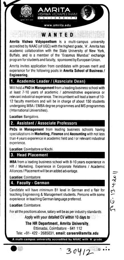Head Placement Assistant Professors and Associate Professors etc (Amrita Vishwa Vidyapeetham)