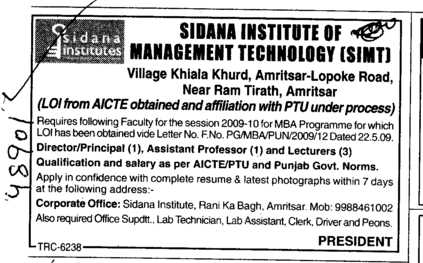 Director Principal and Lecturer (Sidana Institute of Management And Technology)