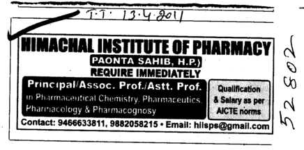Principal and Associate Professors (Himachal Institute of Pharmacy)