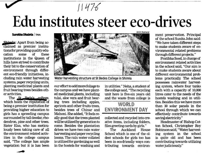 Edu institutes steer eco drives (St Bedes College)