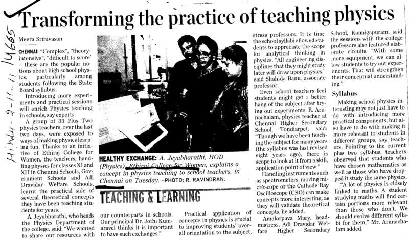 Transforming the practice of teaching physics (Ethiraj College for Women Egmore)