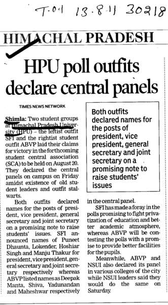 HPU poll outfits declare central panels (Himachal Pradesh University)