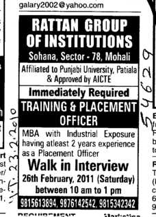 Training and Placement Officer (Rattan College of Education)