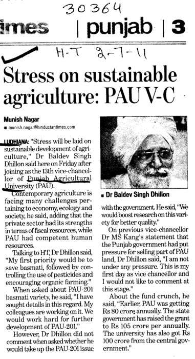 Stress on Sustainable agriculture (Punjab Agricultural University PAU)