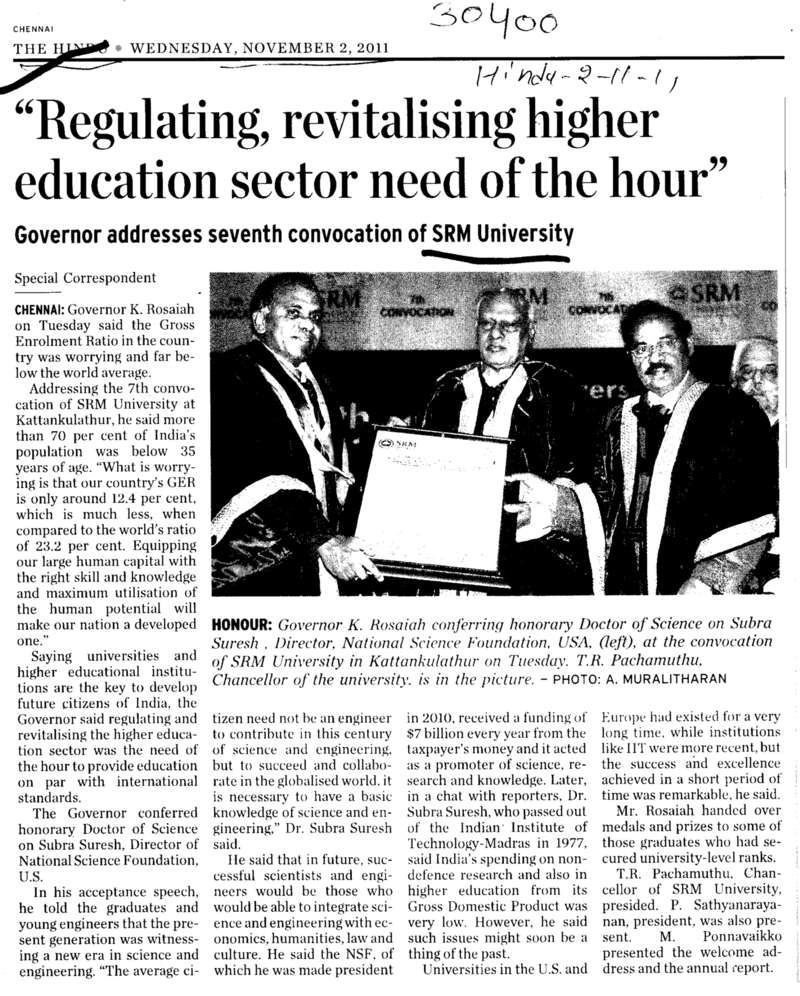 Regulating revitalising higher education sector need of the hour (SRM University)