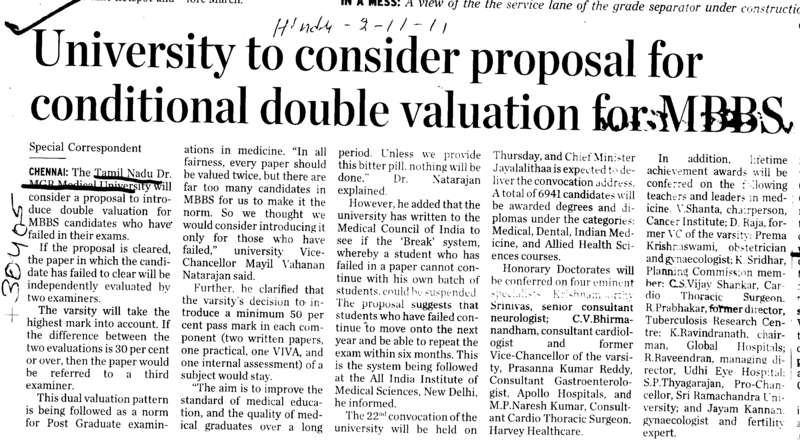 University to consider proposal for conditional double valuation for MBBS (Tamil Nadu Dr MGR Medical University)