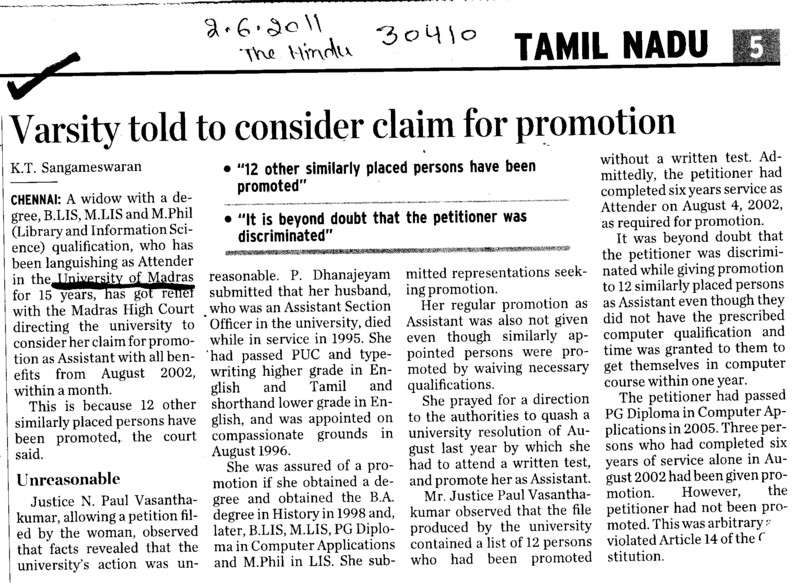 Varsity told to consider claim for promotion (University of Madras)
