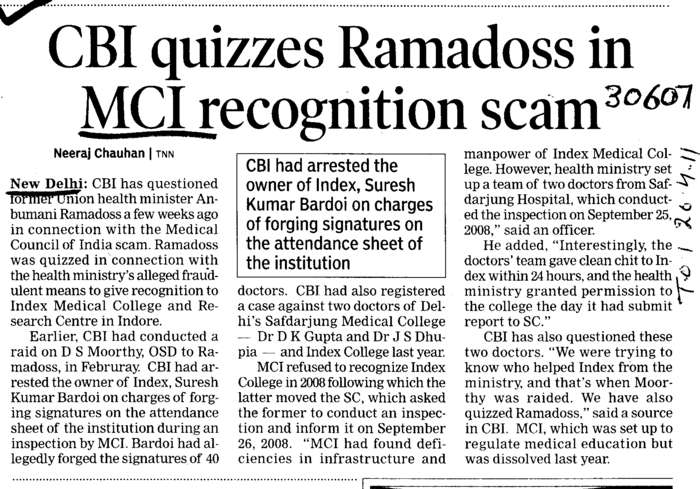 CBI quizzes Ramadoss in MCI recognition scam (Medical Council of India (MCI))