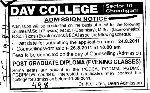 Post Graduate Diploma  (DAV College Sector 10)