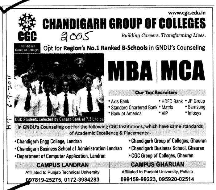 MBA and MCA (Chandigarh Group of Colleges)