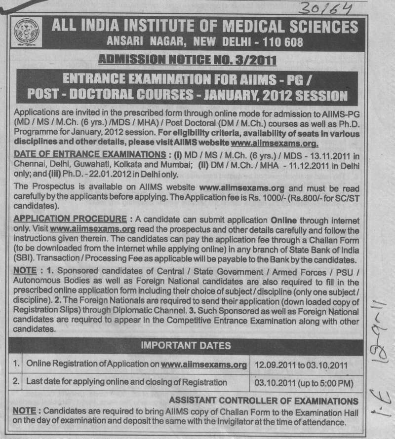 Post Doctoral Course (All India Institute of Medical Sciences (AIIMS))