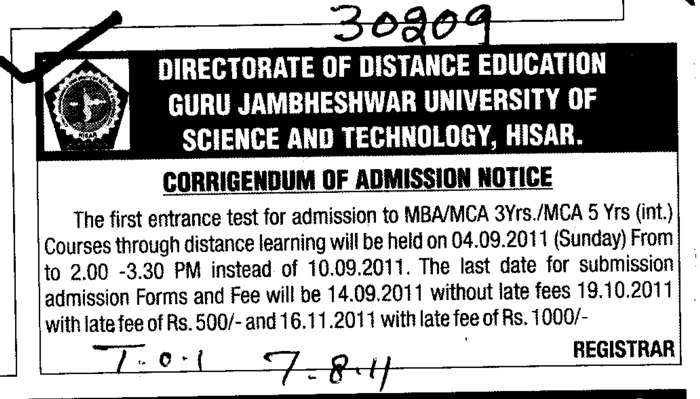 Corrigendum to Admission MBA and MCA  (Guru Jambheshwar University of Science and Technology (GJUST))