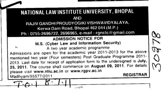 MS Programme (National Law Institute University (NLIU))