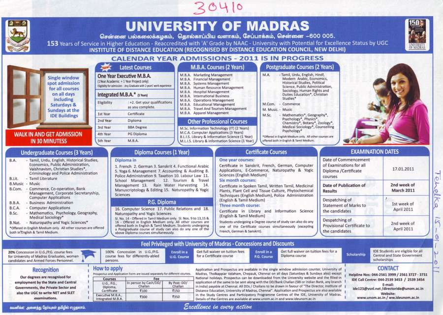 MBA Courses and Post Graduate Courses (University of Madras)