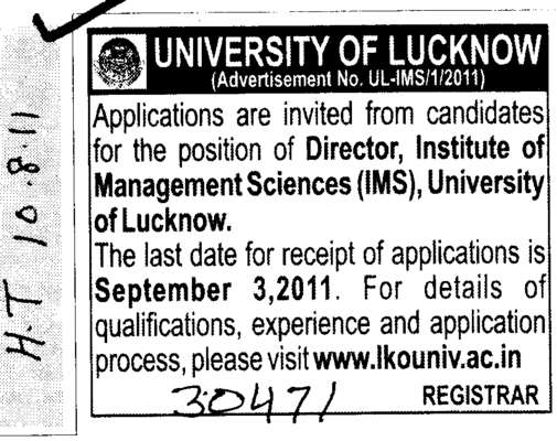Looking a Director (Lucknow University)